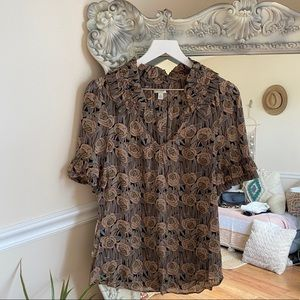 Odille Brown Ruffle Sleeve Rose Print Blouse 10